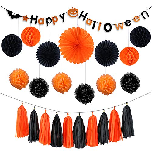 (AZUNX Halloween Dekoration, Happy Halloween Party Dekoration Seidenpapier Girlande Halloween String Banner Papier Quasten Bälle Kürbis Flagge Fledermaus Flagge)