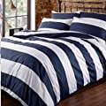 Louisiana Bedding Horizontal Navy & White Stripe Duvet Cover Set Blue 100% Cotton 200 Thread Count produced by Louisiana Bedding - quick delivery from UK.