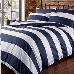 Louisiana Horizontal Navy & White Stripe Duvet Cover Set 100% Cotton 200 Thread Count-Double