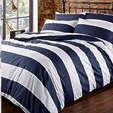 Bettwäsche Horizontale Streifen Blau & weiß Bettbezug Set 100% Baumwolle 200Fadenzahl Louisiana Bedding (140 x 200 cm)