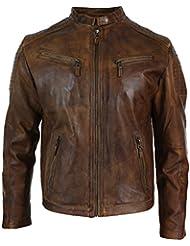 Veste cintrée pour homme en véritable cuir marron vielli style motard décontracté vintage retro