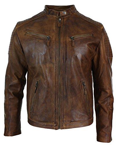 Herrenjacke 100% Echtleder Braun Vintage Retro Design Biker Jacke