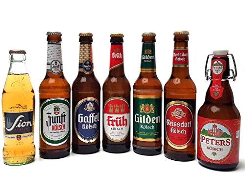 Kölsch 7er Bier Set - Sion 0,25L (4,8% Vol.) + Zunft (11,3% Vol.) + Gaffel (4,8% Vol) + Früh (4,8% Vol.) + Gilden (4,8% Vol.) + Reissdorf (4,8% Vol.) + Peters (4,8% Vol) - je 0,33L (bis auf Sion)