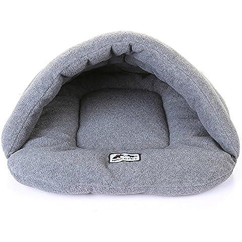 Venta de Hot Cojin Algodón Suave y Cálido Saco de Dormir Cueva Cama Para Perro Gato 4 tamaño 6 colores (L (68 * 58 cm), Gris)