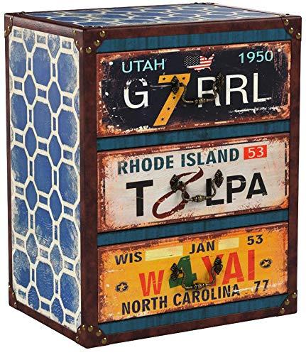 ts-ideen Kommode Regal Nachttisch Schrank Utah Vintage Antik Kunstleder Design Shabby Used Style