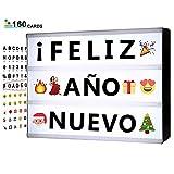 Lavagna Luminosa con Lettere -A5 Lightbox Cinematografico Magnetico Con 160 Lettere In Grassetto, Numeri, Emoji A Colori