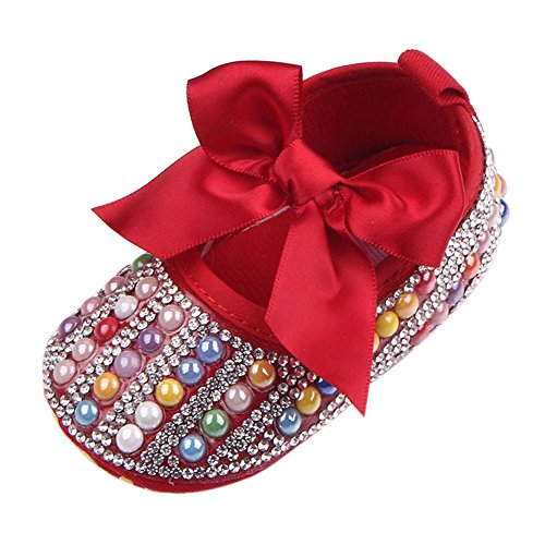 Newborn Baby Bow Bling Crystal Pearl Mary Jane Toddler Prewalker Shoes Red 6-12 Months