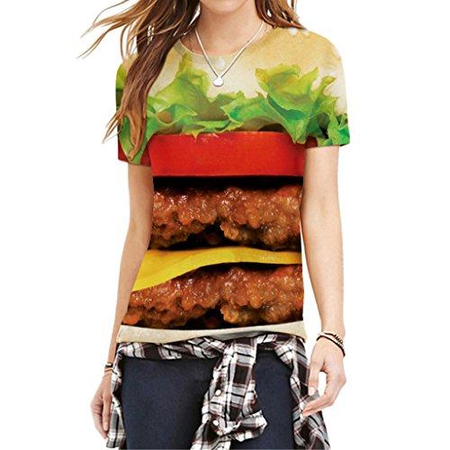 Leckeres Essen Hamburger Unverwechselbares Design Frauen Sommer Kurzarm Shirt L