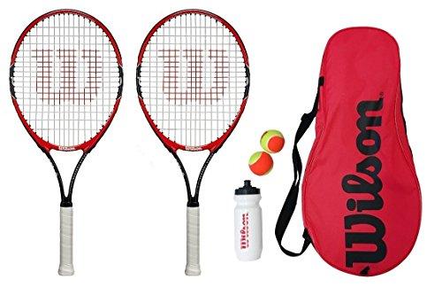 Wilson Roger Federer 25 Tennis-Set, 2 Tennisschläger mit 2 Bällen, 1 Wasserflasche und 1 Tasche