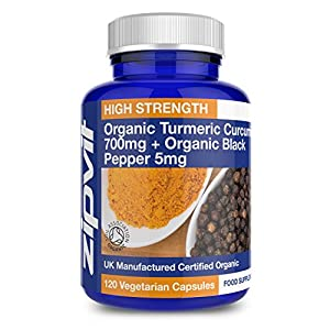 Organic Turmeric 700mg with Black Pepper | 120 Capsules | High Strength | Soil Association Certified | Vegetarian Society Approved