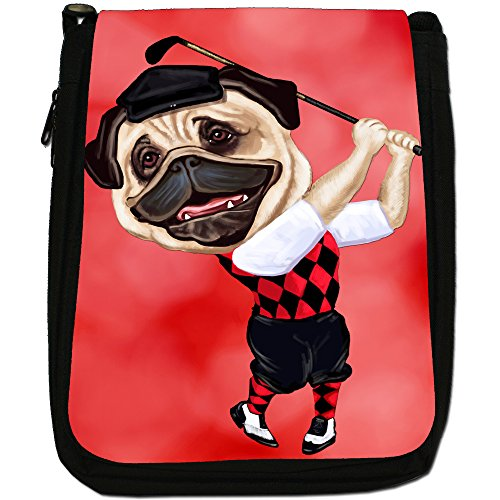 Pug-Athlete Rugby-Pallone da calcio, Tennis-Borsa a tracolla in tela, colore: nero, taglia: M Nero (Golf Playing Pug With Club)