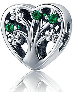Herz grün cz Familie Tree of Life Charms Beads Blume 925Sterling Silber Passend für Europäische Armband Schmuck...