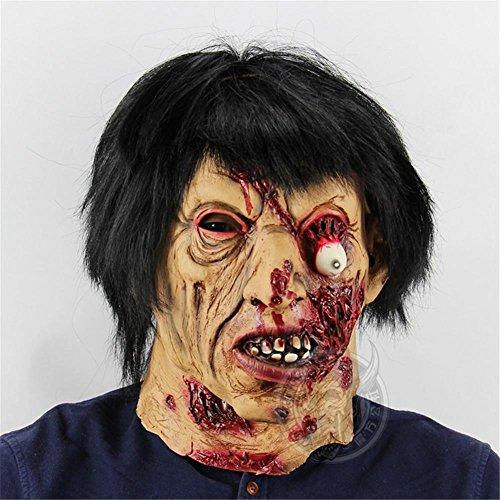 ze Zombie Maske Halloween Raum Entfliehen Sie dem unglücklichen Haus Ganzer Stützen Furchtsamer Latex (Unglücklich Halloween)