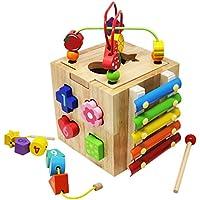 Lewo Aprendizaje Laberinto de Cuentas De madera Juguetes Educativos Centro de Actividades con 10 Bloques de Formas para niños Pequeños