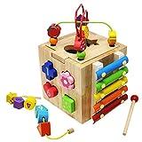 Gioco per abilit motoria cubo di labirinto del branello primi bambini che imparano a giocattoli il centro di attività di legno dei giocattoli educativi per bambino