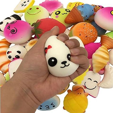 Spielzeug, ADESHOP 15PCS Squishy Charms Kawaii Weich Lebensmittel Panda Brot Brötchen Zucker Doughnuts Telefon Geschenk Zufällig