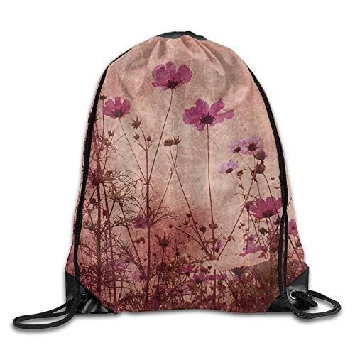 ZHIZIQIU 3D Print Drawstring Bags Bulk, Red Poppy Flower Beige Floral4 Unisex Home Rucksack Shoulder Bag Sport Drawstring Backpack Bag Size: 4133cm