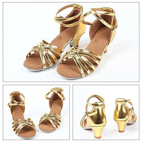 Eastlion Ballsaal Salsa Tango Schuhe Latin Dance Schuhe Tanz Sandalen für Frauen und Mädchen Praxis Gold