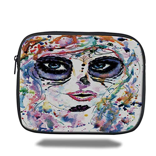 ugar Skull Decor,Halloween Girl with Sugar Skull Makeup Watercolor Painting Style Creepy Decorative,Multicolor,Tablet Bag for Ipad air 2/3/4/mini 9.7 inch ()