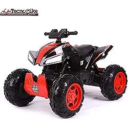 Tecnobike Shop Quad Elettrrico per Bambini ATV 4x4 12V con Ingresso Audio, Lettore Mp3, USB, e Regolazione del Volume (Nero)