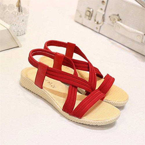 Transer® Damen Sandalen Flach Kreuzgürtel Elastischer Polyester+Gummi Schwarz Rot Beige Braun Sandalen (Bitte achten Sie auf die Größentabelle. Bitte eine Nummer größer bestellen) Rot