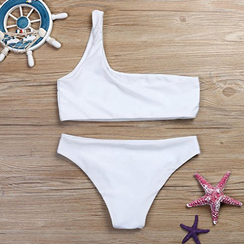 Donne Bikini Set,Una spalla waisted Bralette Costume da bagno spiaggia Costumi Women One Shoulder Waisted Swimwear Rawdah bianca
