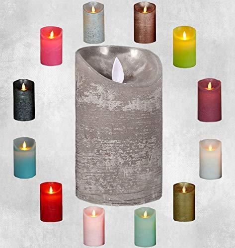 LED Echtwachskerze Kerze viele Farben mit Timer flackender Docht Wachskerze Kerzen Batterie, Farbe:Grau, Größe:10 cm