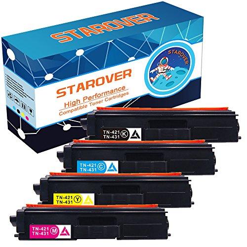 Preisvergleich Produktbild STAROVER 4x Kompatibel Tonerkartuschen Ersatz für Brother TN423 TN-423 (TN-423BK, TN-423C, TN-423M, TN-423Y ) / TN421 TN-421 (TN-421BK TN-421C TN-421M TN-421Y) Toner Patronen für Brother HL-L8260CDW HL-L8360CDW DCP-L8410CDN DCP-L8410CDW MFC-L8690CDW MFC-L8900CDW (1 Schwarz, 1 Cyan, 1 Magenta, 1 Gelb)