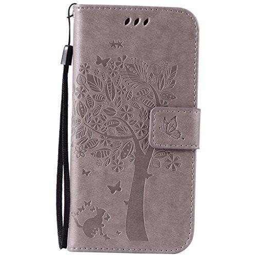 Coque Galaxy S7, Etui Samsung S7 [Avec Protecteur d'écran en Verre Trempé Gratuit],Fatcatparadise® (Série de chat et d'arbre) Rétro emboss Premium Fli...
