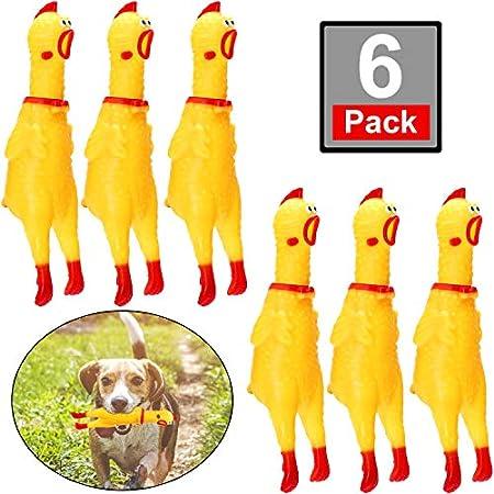 meekoo 6 Packung Gummi Schreiend Hühner Spielzeug Gelb Gummi Quietschen Hühner Spielzeug Neuheit und Dauerhaft Gummi…