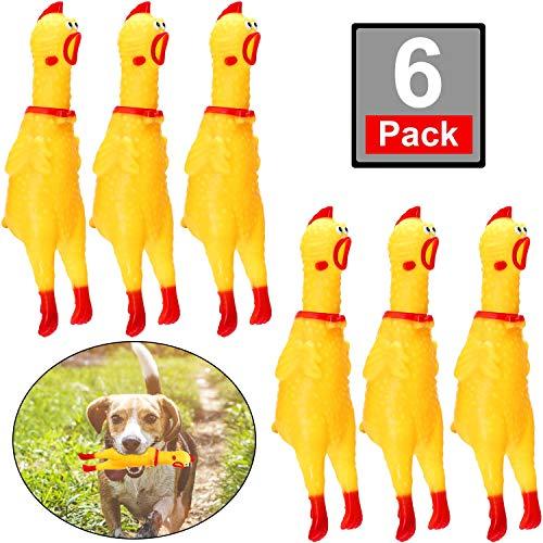 meekoo 6 Packung Gummi Schreiend Hühner Spielzeug Gelb Gummi Quietschen Hühner Spielzeug Neuheit und Dauerhaft Gummi Huhn, Schrillen Dekompression Werkzeug Gadgets (Huhn Spielzeug)