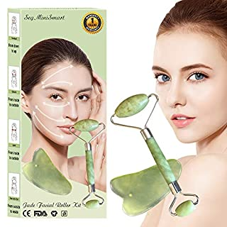 Jade Roller for face Massager, Face Anti Aging Gua Sha Scraping Massage Tool Set Therapy 100% Natural Jade Facial Roller Anti Wrinkle and Skin Rejuvenate