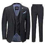 3 Pièces pour Hommes Pin Stripe Costume Noir Blanc Rétro 1920 Gatsby Style [SUIT-2B2810-BLACK-50UK]