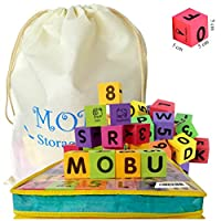 MOBU 30PCS Foam Building Blocks With Reusable Storage Bag Letters Alphabet Blocks (ABC) Numbers Blocks (123) Stacking Blocks for Kids Toddlers Babies Playing Indoor Outdoor Bathroom Bathtub or Beach