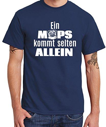 clothinx Herren T-Shirt EIN Mops kommt selten Navy Größe 3XL - Mops Bester Freund T-shirt
