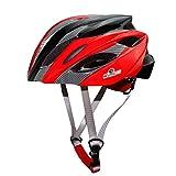 Yuncai Erwachsene Fahrradhelm Leicht Einstellbar Draussen Sports Rennrad Schutzhelm Schwarz Rot 57-62CM