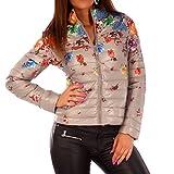Damen Übergangs Jacke Steppjacke Blumen Druck, Farbe:Beige;Größe:36