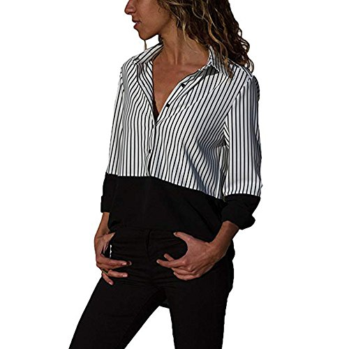 VJGOAL Damen Bluse, Damen Mode lässig Passenden Farbe herbstlichen Langarm-Taste lose Kariertes Hemd Bluse Top T-Shirt (40, S-Patchwork-schwarz)