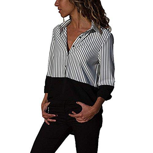 MRULIC Damen Shirt Tie-Bow Neck Striped Langarm Spleiß Bluse Gestreift Damen ()