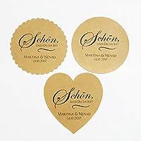 24 Aufkleber Etiketten Selbstklebend Braun Kraftpapier Schön, dass Du da bist