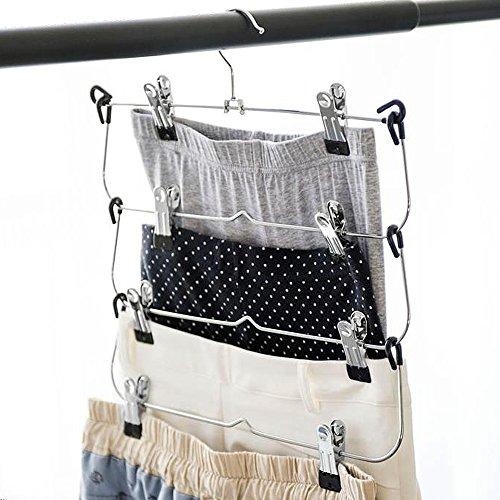 LOHAS Home 33 x 38 cm múltiples falda de la percha y Metal cromado, Plateado perchas metalicas