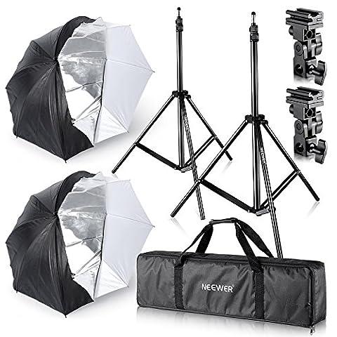Neewer® Studio Digital Flash Mount Zwei abnehmbaren Bezug schwarz Umbrella Kit 83,8cm/84cm für Canon 430EX II, 580EX II, Nikon SB600SB800, Yongnuo YN560, YN565, NEEWER TT560, (Digital Studio Beleuchtung)