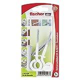 Fischer Universaldübel UX 8 x 50 OH N K SB-Karte mit Rand, 2 x Ösenschraube 5,5 x 87, nylonbeschichtet, 094297