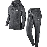 Nike W NSW TRK FLC Chándal, Mujer, Gris Charcoal Heathr/White, XS
