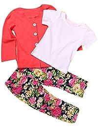 Ularma 1 Set niñas camiseta manga larga + capa + pantalón