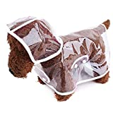 Hi Suyi Impermeabile per Cani Cuccioli Trasparente con cappuccio facile da indossare, taglie colori a scelta