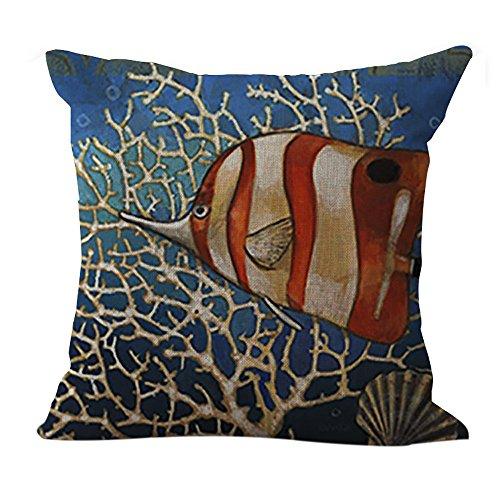 inen Kissen Fisch Muster Quadratisch Decor Kissen dekorativer Überwurf-Kissenbezug 45,7x 45,7cm (Wie Fische Schlafen)