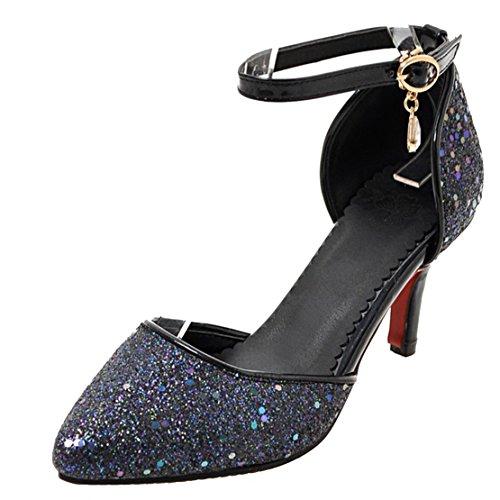 AIYOUMEI Damen Spitz Glitzer Knöchelriemchen Kleiner Absatz Pumps mit 5cm Absatz und Schnalle Stiletto High Heel Abend Schuhe