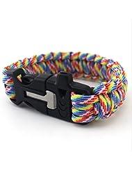 CC * CD extérieur Bracelet de survie Sifflet Gear Flint Fire Starter Bracelet (Camouflage de Rainbow)