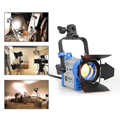 Alumotech 150 Watt Pro Film Fresnel Tungsten Strahler Beleuchtung Studio Video + Birne + Barndoor Barndoor Arri